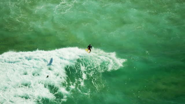 Aerial view of surfer at Bondi Beach Sydney