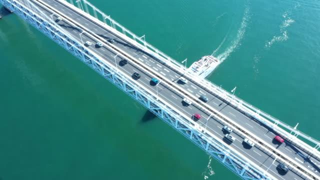 stockvideo's en b-roll-footage met aerial view of suspension bridge - ijzer