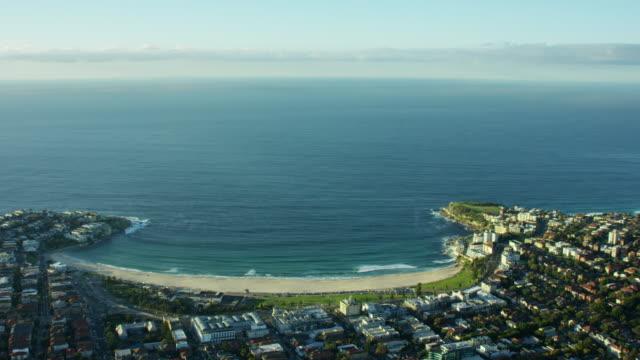 Aerial view of sweeping bay at Bondi Beach