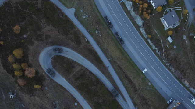 Aerial view of Switzerland army howitzer running