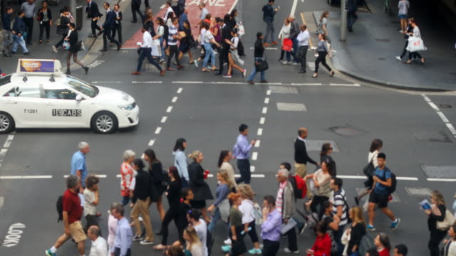 aerial view of sydney crowds of shoppers and business commuters - crossing stock videos & royalty-free footage