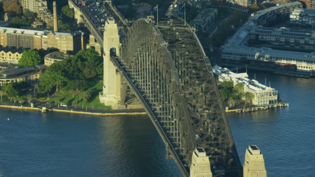 aerial view of sydney harbor bridge climb - column stock videos & royalty-free footage