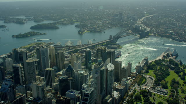 aerial view of sydney harbour bridge australia - ferry stock videos & royalty-free footage