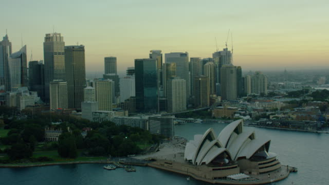 vídeos de stock, filmes e b-roll de aerial view of sydney opera house and harbour - sydney australia