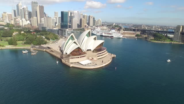aerial view of sydney opera house - sydney stock videos & royalty-free footage