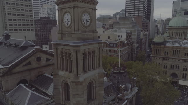 Aerial view of Sydney Town Hall clock tower. Sydney Australia
