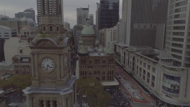 aerial view of sydney town hall clock tower. sydney australia - clock tower stock videos & royalty-free footage