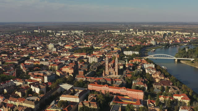 aerial view of szeged hungary - eastern european culture stock videos & royalty-free footage