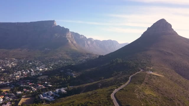 aerial view of table mountain, cape town, south africa - cape town stock videos & royalty-free footage