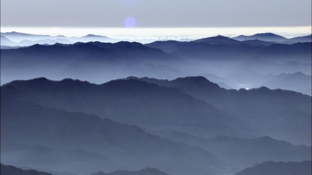 Aerial view of Taegisan mountain range and wind turbines