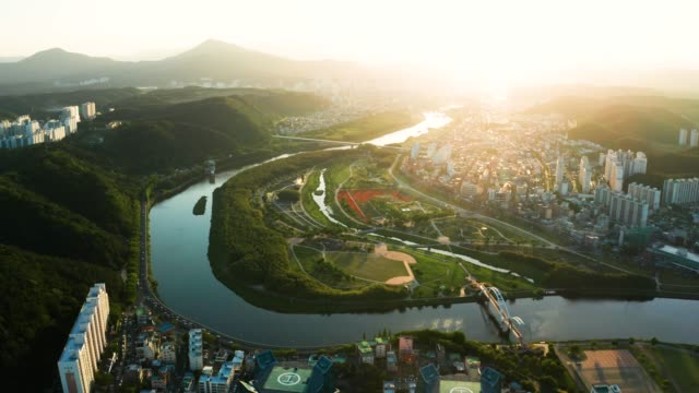 aerial view of taehwa river in spring - 韓国点の映像素材/bロール