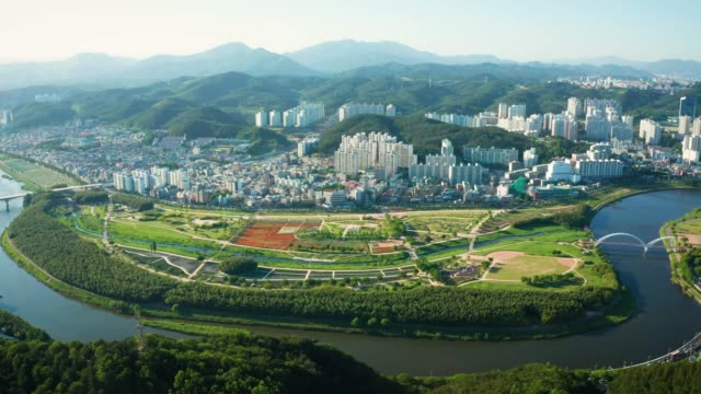 aerial view of taehwa river in spring - grove stock videos & royalty-free footage