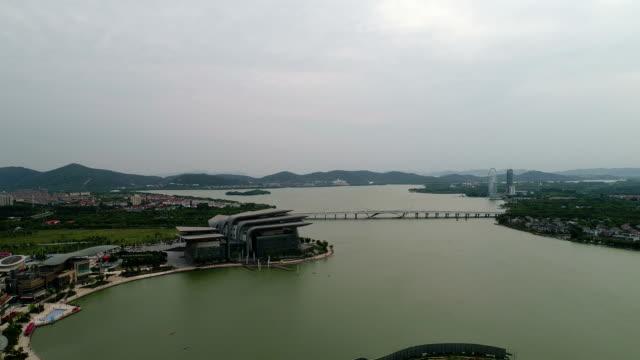 Aerial view of taihu lake in wuxi East LiHu lake