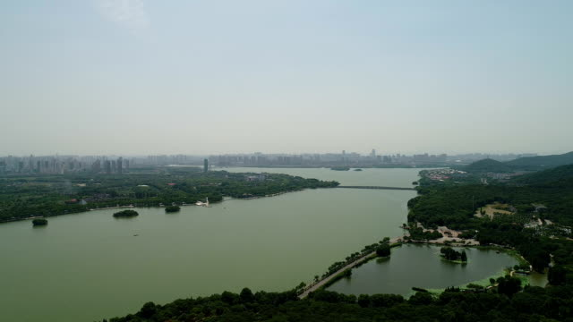 Aerial view of taihu lake in wuxi LuDing mountain