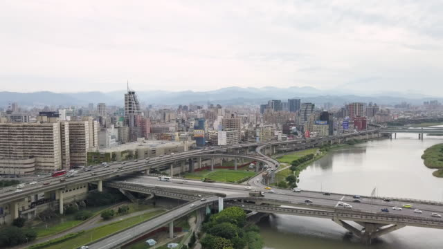 ha, ws aerial view of taipei centre / taipei, taiwan - taiwan stock videos and b-roll footage