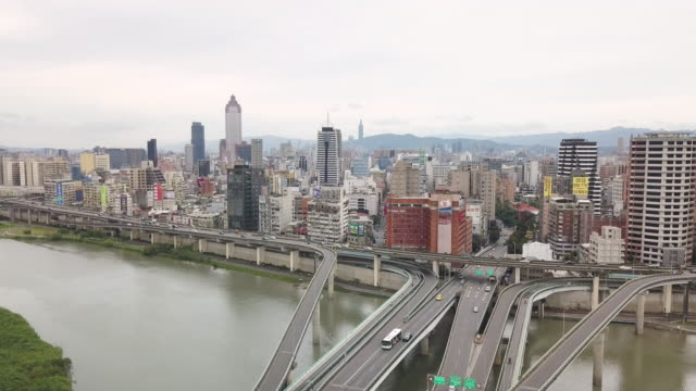 HA, WS Aerial view of Taipei centre / Taipei, Taiwan