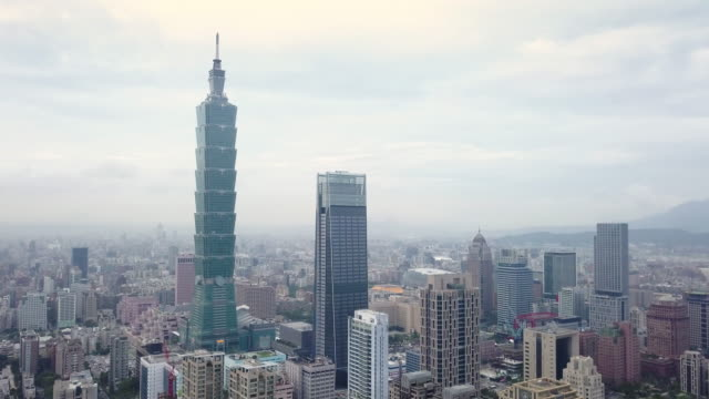 HA, WS Aerial view of Taipei centre with Taipei 101 / Taipei, Taiwan