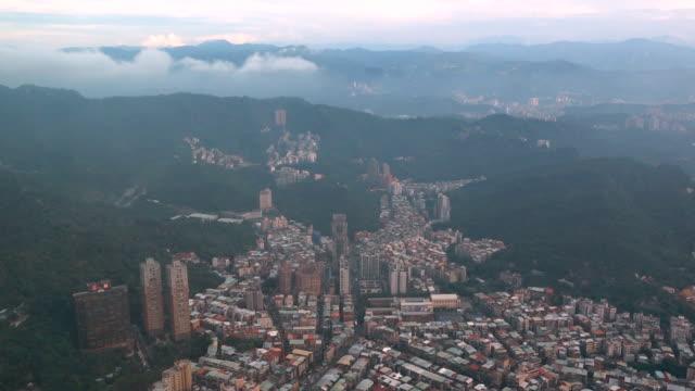 aerial view of taipei city in taiwan - taipei 101 stock videos & royalty-free footage