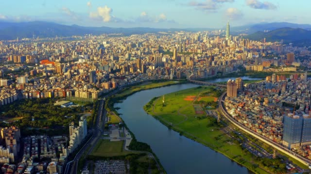 aerial view of taipei taiwan - taipei 101 stock videos & royalty-free footage