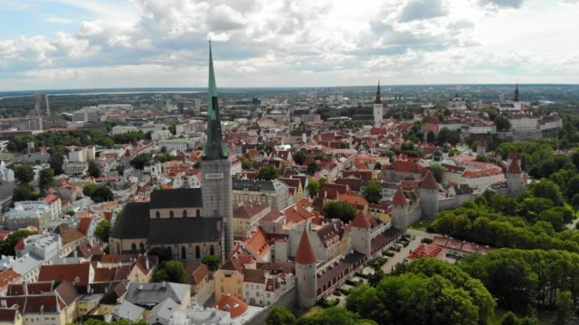 aerial view of tallinn, estonia - old town stock videos & royalty-free footage