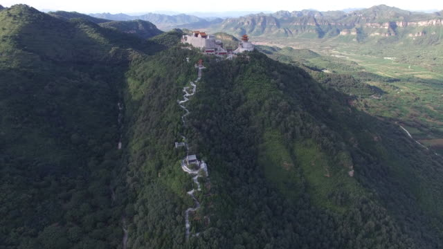 aerial view of tao's temple on hill top, beijing china - religion stock videos and b-roll footage