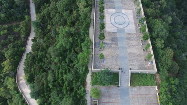 aerial view of tao's temple on hill top, beijing china - religion stock videos & royalty-free footage