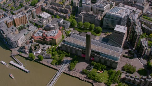 aerial view of tate modern and the globe theatre, london, uk. 4k - river thames stock videos & royalty-free footage