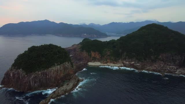 aerial view of tategasaki, kumano, mie, japan - satoyama scenery stock videos & royalty-free footage
