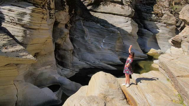 aerial view of taşyaran valley and canyon, water flowing from the valley, interesting looking valley or canyon, symbol of turkey, most different places, woman dancing and ballet, beautiful woman dancing - take that stock videos & royalty-free footage
