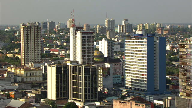 aerial view of teatro amazonas with skyscrapers - manaus stock videos and b-roll footage