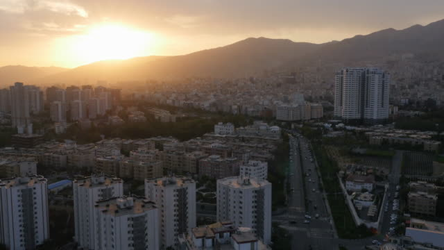 aerial view of tehran during the sunset - tehran stock videos & royalty-free footage
