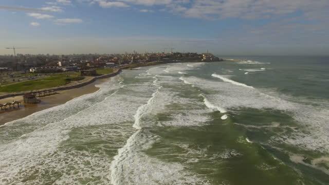 aerial view of tel aviv coastline and promenades - jaffa stock videos & royalty-free footage
