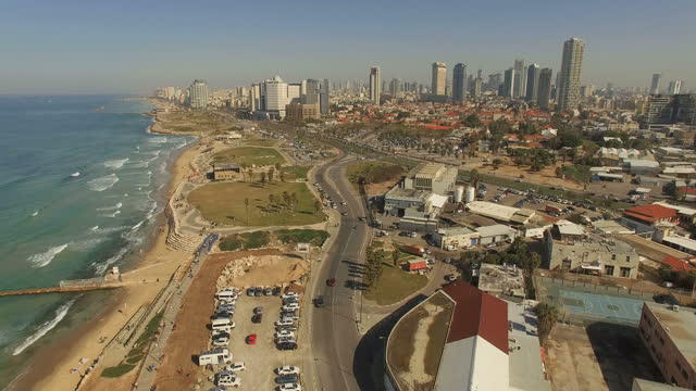 Aerial view of Tel Aviv coastline and promenades
