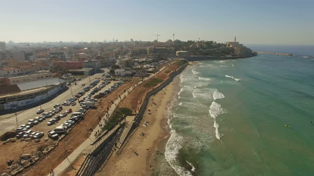 Aerial view of Tel Aviv coastline and promenades