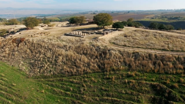 aerial view of tel hazor national park: fascinating biblical archaeology /galilee, israel - israelite stock videos & royalty-free footage