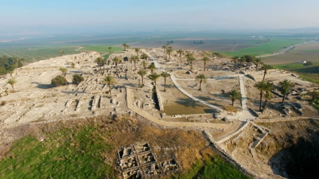 aerial view of tel megiddo, jezreel valley - archaeology stock videos & royalty-free footage
