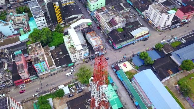 Aerial view of telecommunication antenna in the city