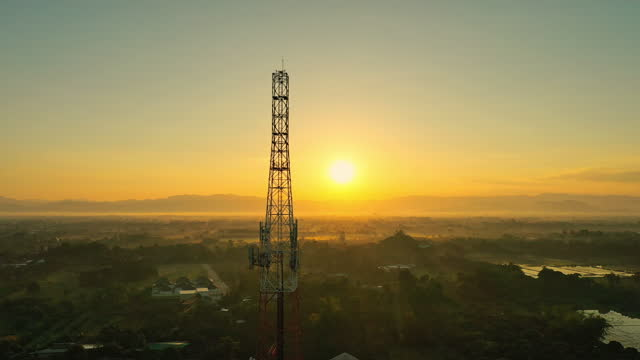 aerial view of telecommunication mast tv antennas with foggy on mountain at north of thailand - tower stock videos & royalty-free footage