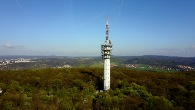 aerial view of telecommunication tower - mast stock videos & royalty-free footage