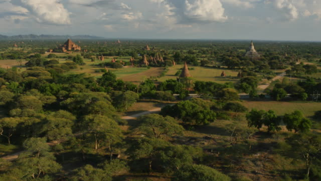 Aerial view of temple and Irrawaddy River