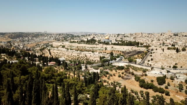 aerial view of temple mount, dome of the rock and al-aqsa mosque - palestinian stock videos & royalty-free footage