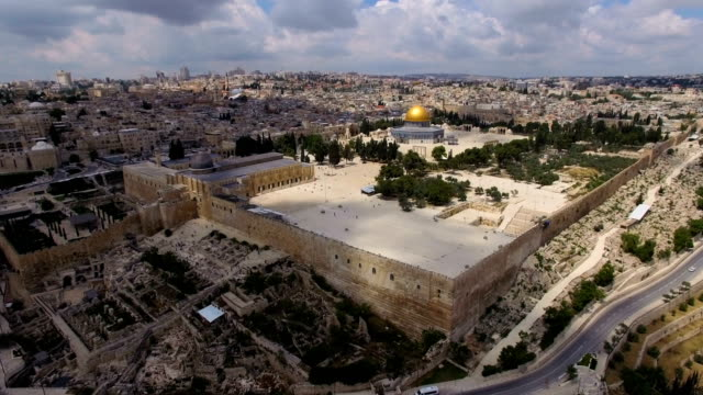 aerial view of temple mount, dome of the rock and al-aqsa mosque - jerusalem old city stock videos and b-roll footage