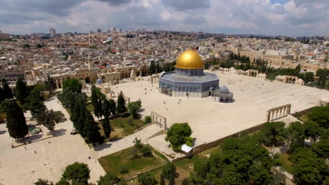 aerial view of temple mount, dome of the rock and al-aqsa mosque - jerusalem stock videos & royalty-free footage