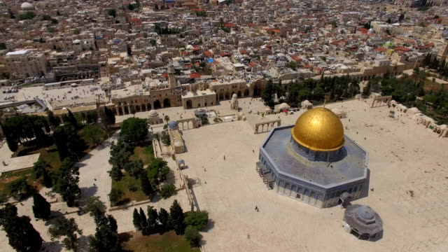 Aerial view of Temple mount, Dome of the rock and Al-Aqsa Mosque