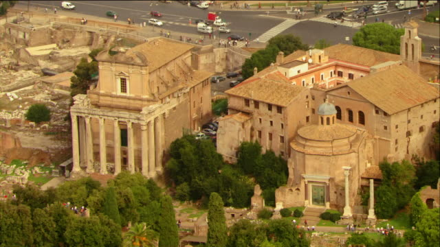 Aerial view of Temple of Antoninus and Faustina + Temple of Romulus at the Roman Forum / Rome, Italy