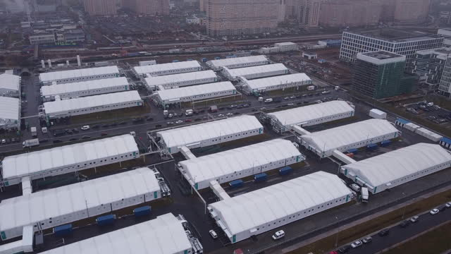aerial view of temporary field hospital used to treat coronavirus patients, close to the novomoskovsky multi-specialty hospital complex in the... - temporary stock videos & royalty-free footage