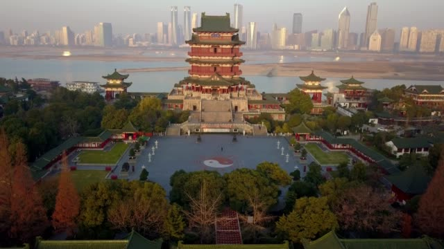 aerial view of tengwang pavilion of prince teng, nanchang city, china - prince stock videos and b-roll footage