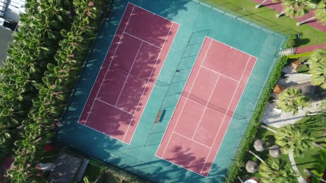 aerial view of tennis court - tennis stock videos & royalty-free footage