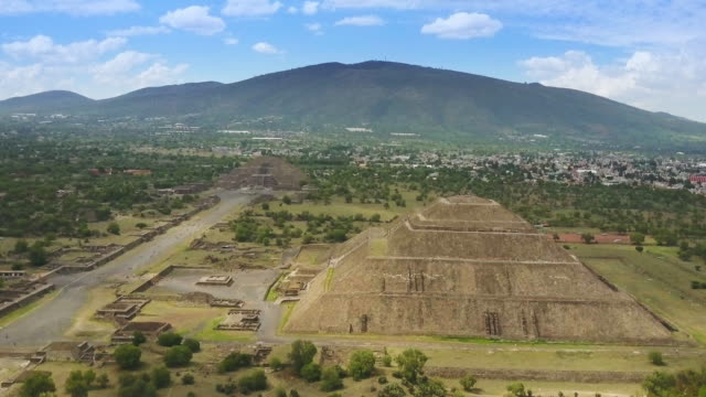 aerial view of teotihuacan mexico - pyramid stock videos and b-roll footage