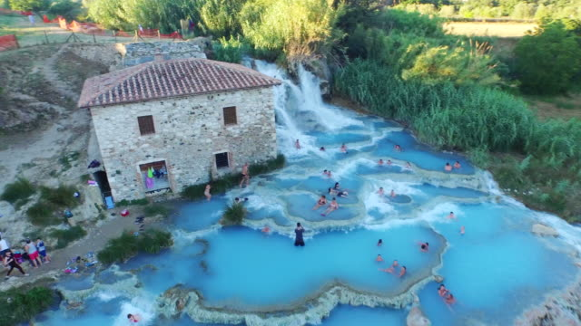 Aerial view of Terme di Saturnia in Italy
